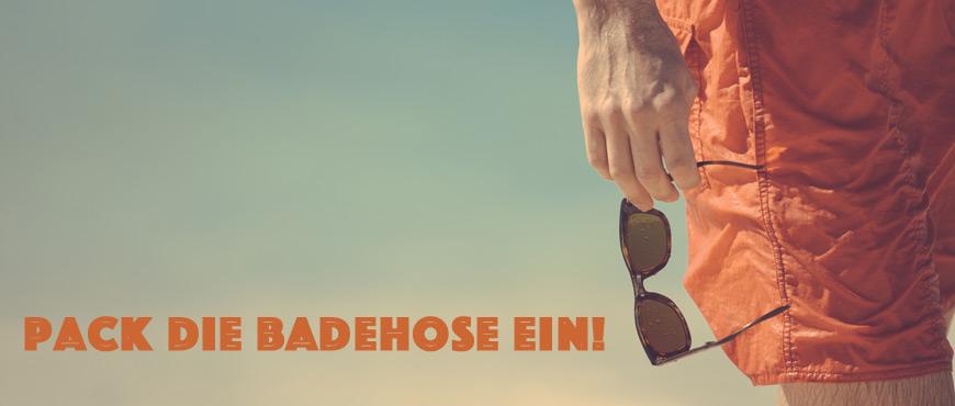 Sommerurlaub Badehose Sonnenbrille